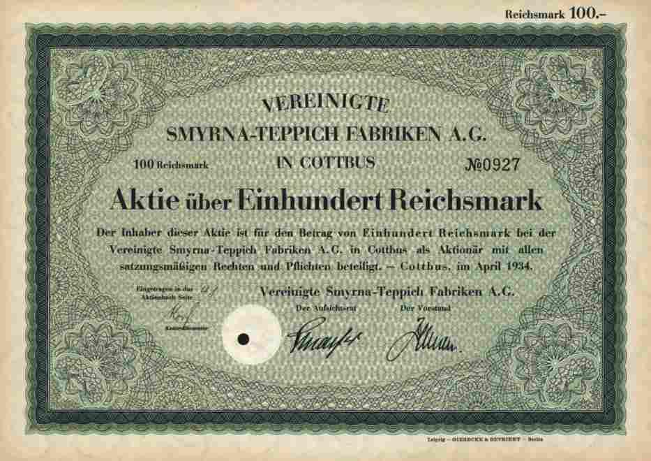 Vereinigte SMYRNA Teppich AG 1934 Cottbus Schmiedeberg
